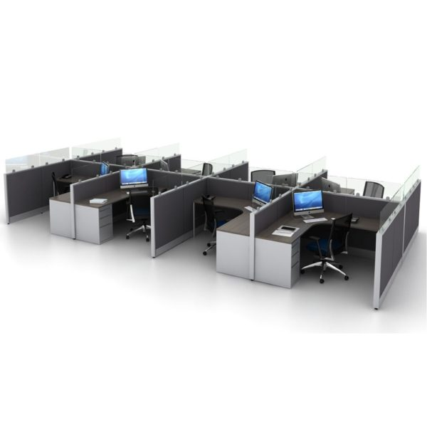 seamless glass work stations